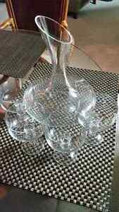 Free wine decanter and 4 stem glasses
