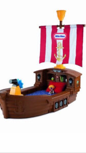 Little Tikes Toddler Pirate bed with Pottery Barn mattress