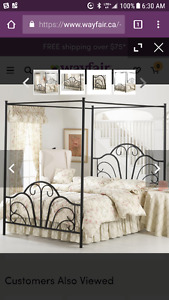 Black metal canopy bed Double Bed Size