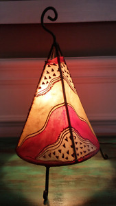 Lovely Vintage Retro Leather TeePee Metal Lamp