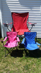 Foldable camping chairs x3