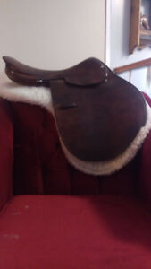 English Saddle, Pad, and Oster Brush Bag with Misc. Items