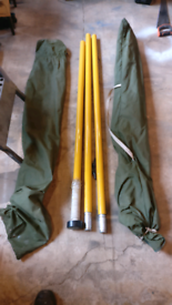 2x flag poles, bagged, good condition, overall height 4.5m