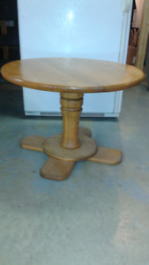 "Solid Oak Table 29"" dia. ($20)"