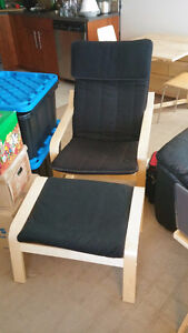 Ikea POANG Armchair and footstool.