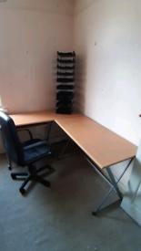 Large corner desk. 66 x 53 inches. & chair. Llantarnam cwmbran