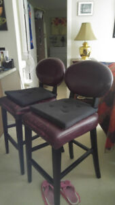 Bedroom furniture and two bar stools as well as leather recliner