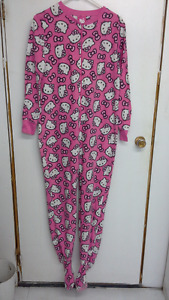 adult pink official Hello Kitty onesie pajama with feet. size S