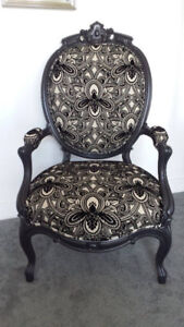 Designer Art Deco French Rococo Period Rosewood Bergere Chair