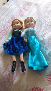 Elsa and Anna dolls and picture