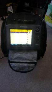 Lowrance fish finder and ice bag
