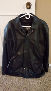 Men's size 42 full grain black soft leather jacket