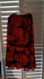red rose maxi skirt