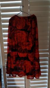 red rose maxi skirt