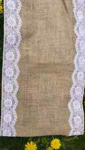 12 Burlap and lace table runners for wedding available