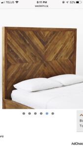 West elm solid queen pine headboard