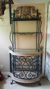 Solid wrought iron and stone wine rack