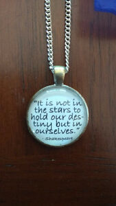 Shakespeare Quote Necklace Faux Silver Handmade