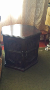 Like New Two Hexagon Wood End Tables plus long Coffee Table