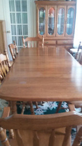 Solid maple dining table, 6 chairs, and display hutch