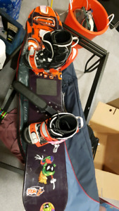 Snowboard Boots Bindings Board and Bag
