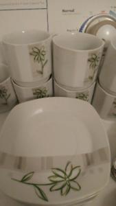 ensemble de vaisselle carré square plates set dining ware