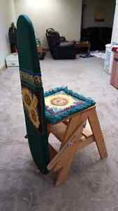 Quality wood ironing board, converts to seat or foot stool