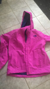 Worn once. bright North Face. $75 size Large