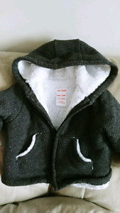 Grey lined jacket 3-6 mnths