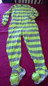 neon striped adult onesie pajama with feet