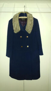 Woman's Navy Wool Coat with Fur Collar - Excellent Condition
