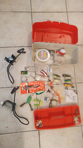 Plano Tackle box w/ lures, line, 2 rod holders (cost over $150)