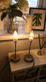 Pair of brushed nickel effect bedside touch lamps