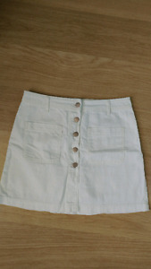 High waist white denim skirt