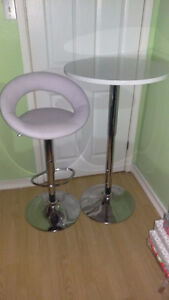 Tall Round White Table and Bar Chair