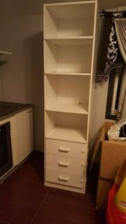 kitchen pantry storage cabinet with shelves and drawer space