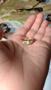 Ladies fire Opal with diamonds,solid gold