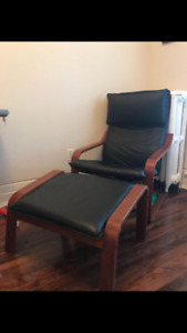 IKEA POANG leather armchair and ottoman