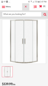 """Round Shower Door w/Clear Glass and Brushed Nickel Trim. 36""""base"""