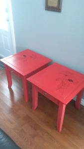 SOLID WOOD  End Tables -Painted