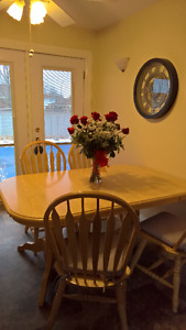 Lovely Light Color Dining Table and China Cabinet