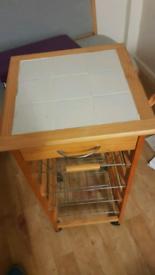 Butcher block kitchen trolley storage