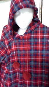 hooded, checkered onesie pajama for adults. XL