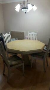 Wood Hexagon Dining Table with 4 Chairs - Reduced Price