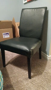 6 Black Padded Dining Room Chairs