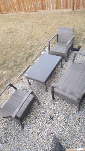 Patio couch chairs and table