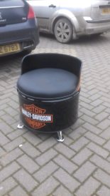 Harley Davidson man cave seat from oil drum motorbikes cars trucks etc