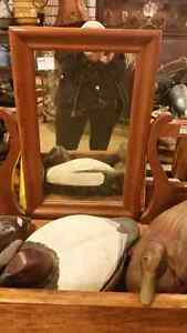 Vintage wood swivel tabletop mirror 39