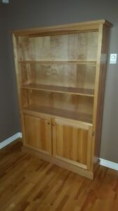 Solid maple bookcase with lower doors