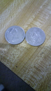 2 50 cent coins 1974 and 1984